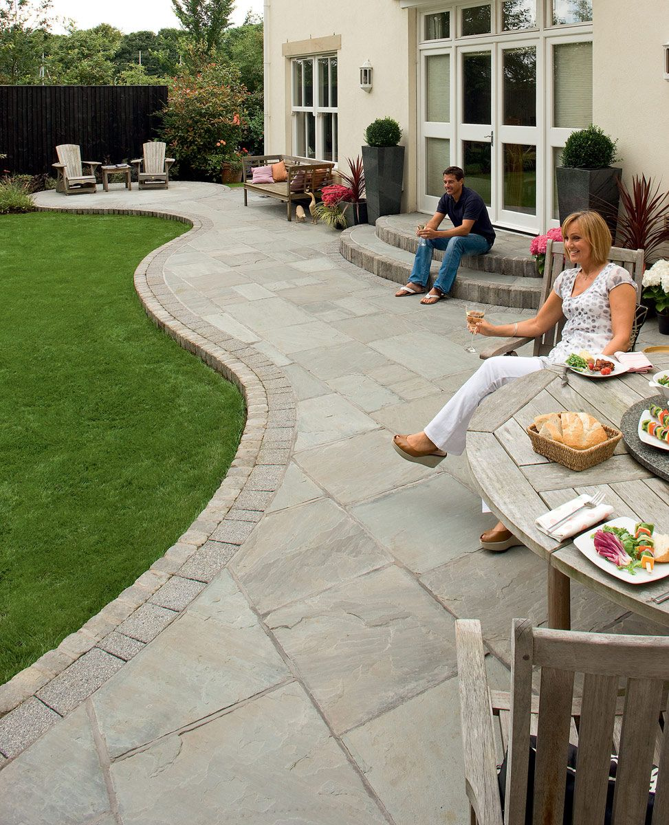 Fairstone riven stone garden paving for Gardens with decking and paving
