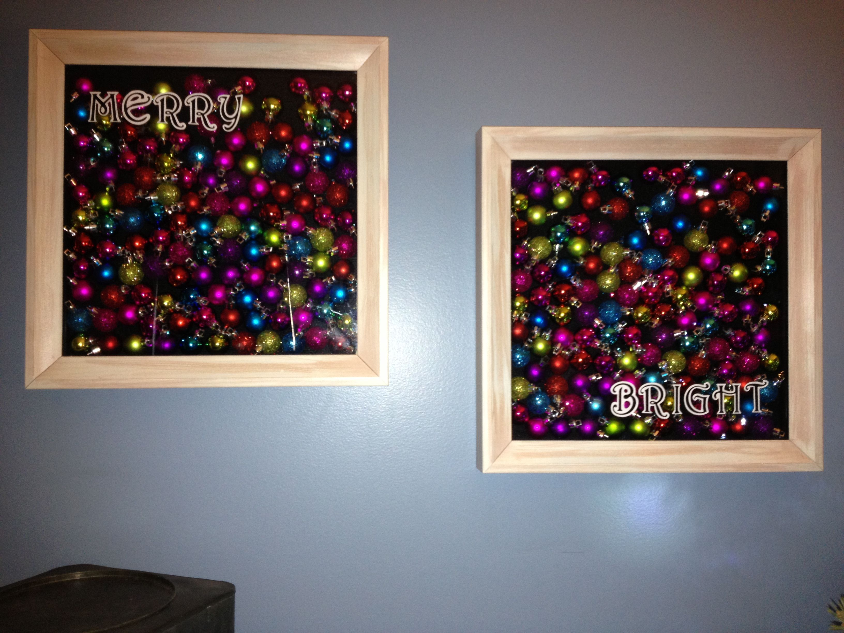 Target Dollar Section ornaments in shadow boxes... Merry and Bright!!  Not new idea but had fun doing it!!