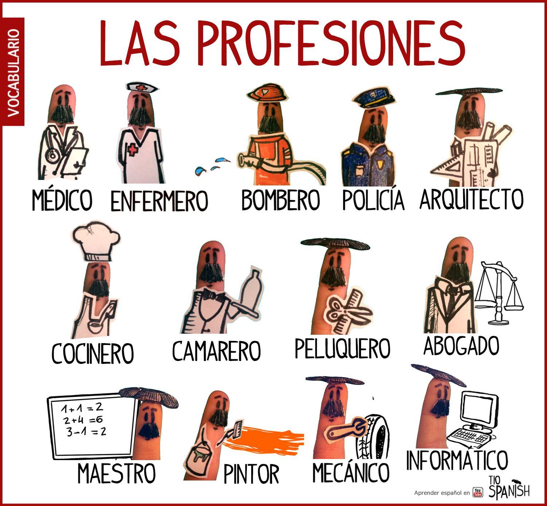 Las profesiones en espa ol vocabulario espa ol for Pinterest en espanol