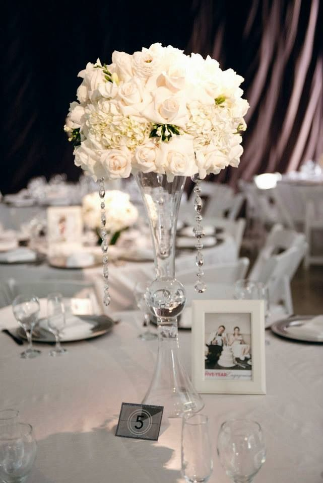 Reception table setting: FIVE Year Engagement (table # 5) | Wedding ...