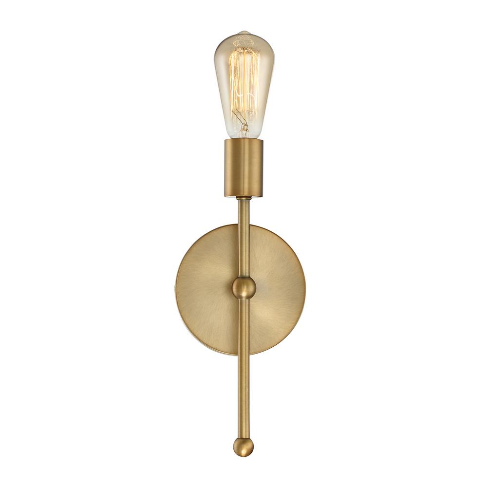 Filament Design 1 Light Natural Brass Sconce Cli Sh475056 The Home Depot In 2020 Wall Sconce Lighting Wall Lights Sconces