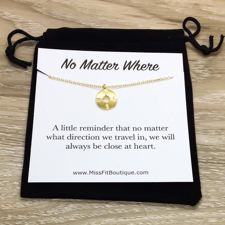 No Matter Where Compass Necklace Card Best Friends