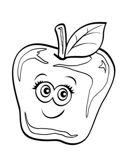 Obst Und Gemüse Kostenlose Malvorlage Apfel Mit Lustigem Gesicht
