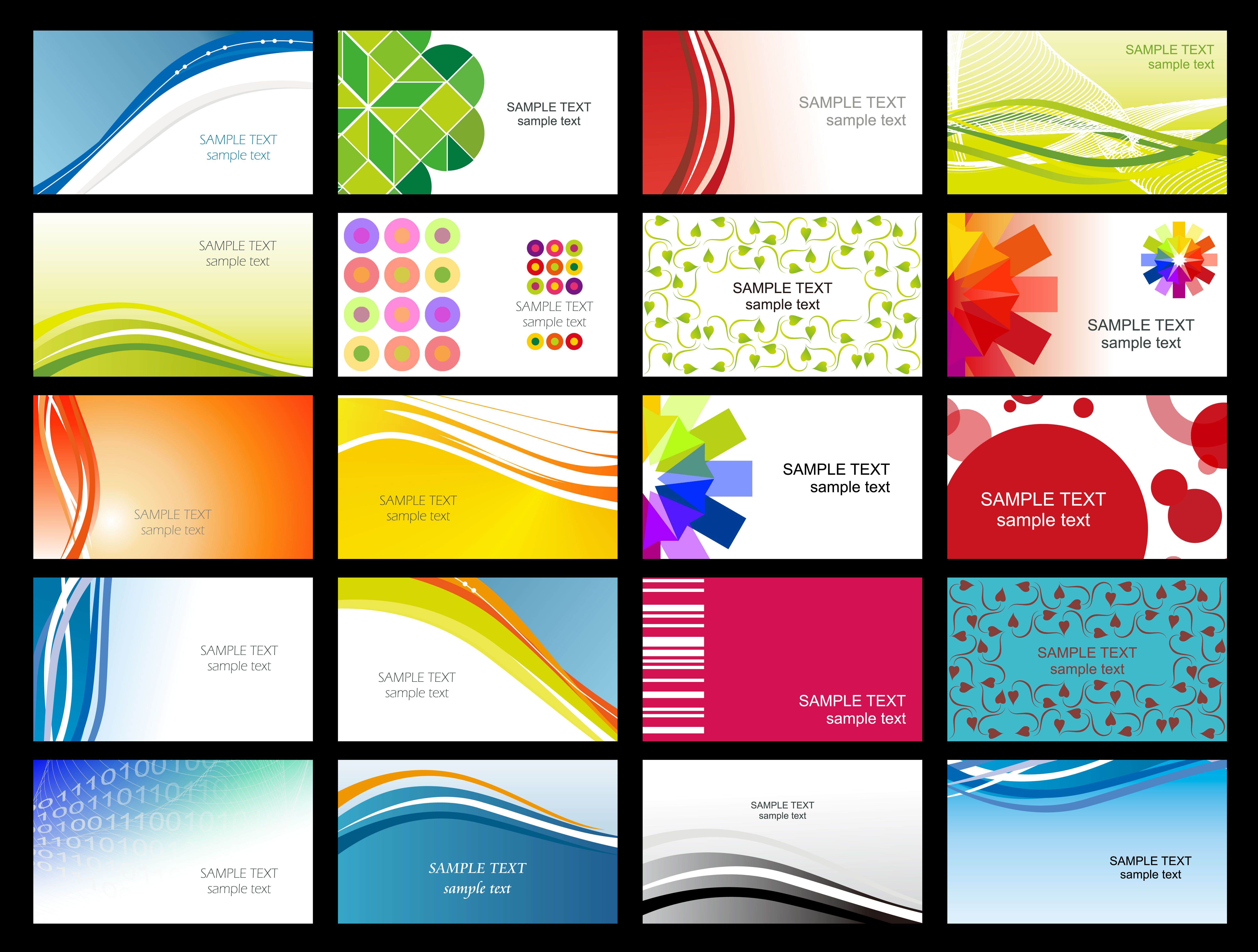 Variety Of Dynamic Flow Line Business Card Templates 02 Vector