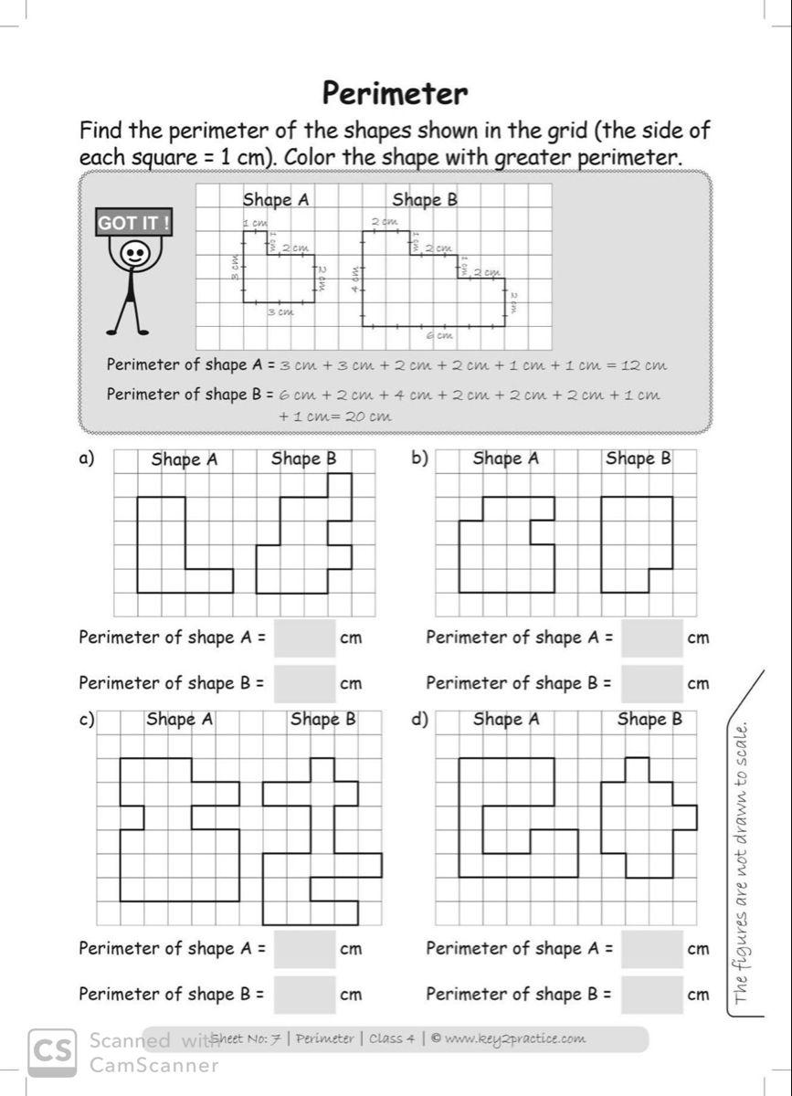 Maths Worksheets Grade 4 Perimeter key2practice