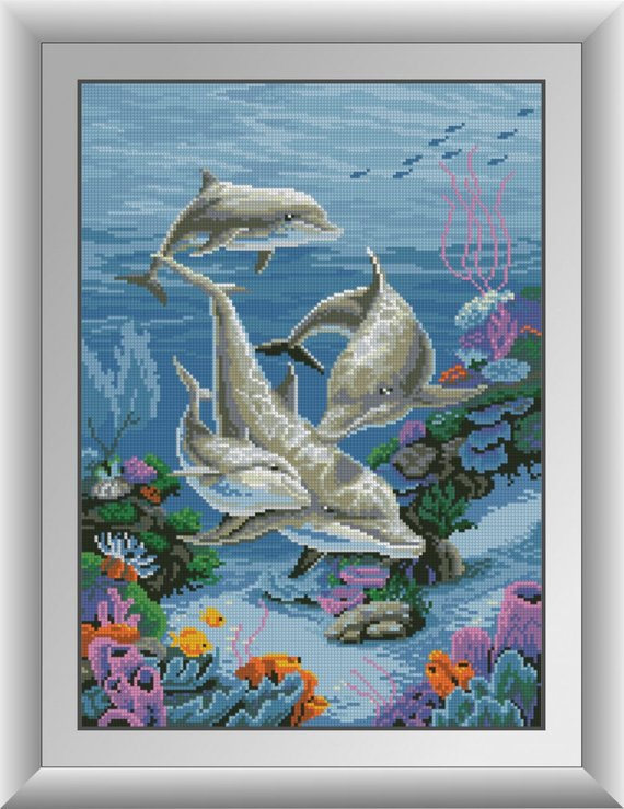 Arts,crafts & Sewing Diy 5d Diamond Mosaic Dolphins Diamond Painting Cross Stitch Kits Square Embroidery Home Decoration