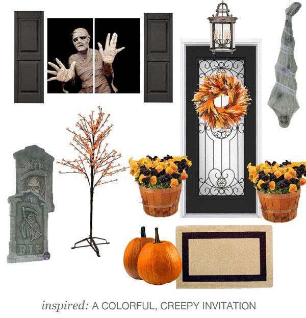 Colorful and creepy #Halloween decor ideas, like a Halloween tree - halloween window clings