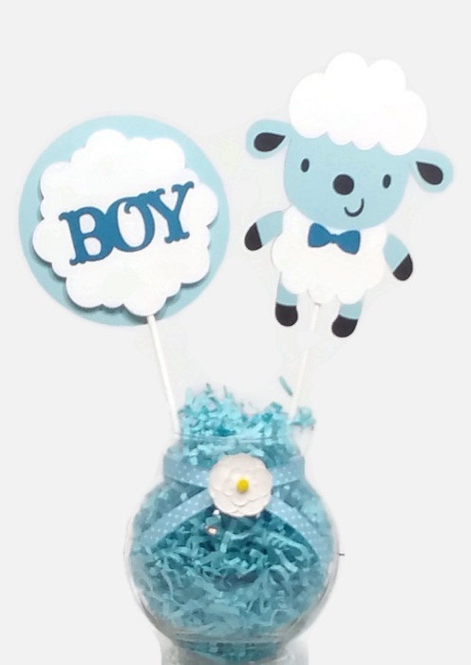 Baby Boy Sheep Lamb Cake Toppers Centerpiece Sticks Baby Shower Decorations Neutral Baby Shower Centerpieces Baby Shower