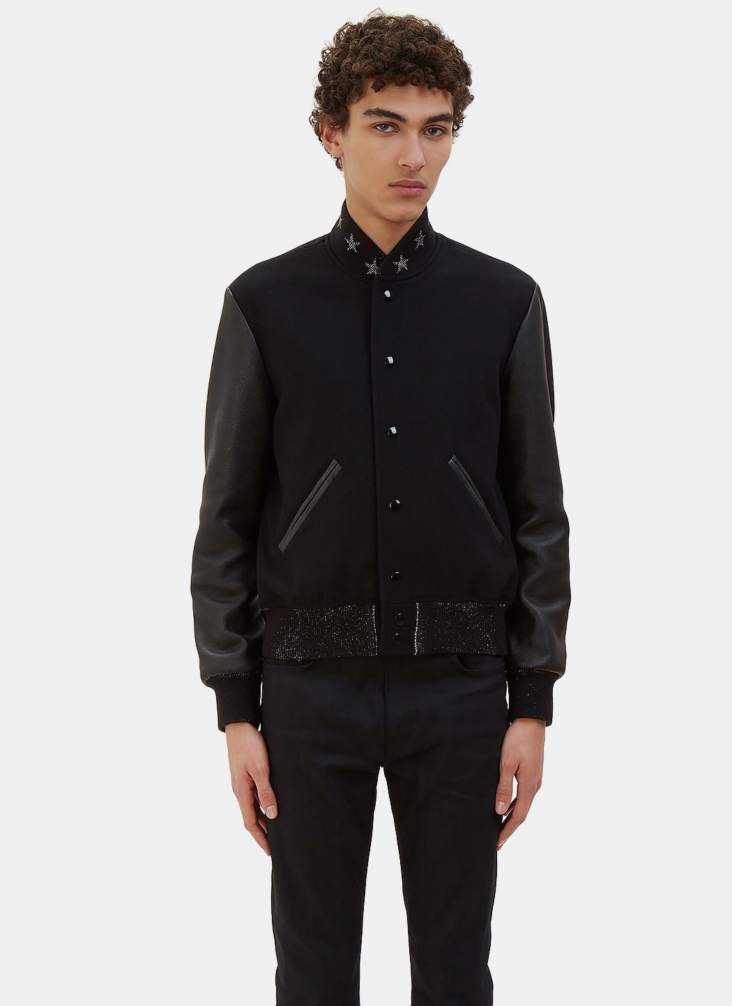 1ab22f1ef59 SAINT LAURENT Men's Star Collared Teddy Bomber Jacket in Black. # saintlaurent #cloth #