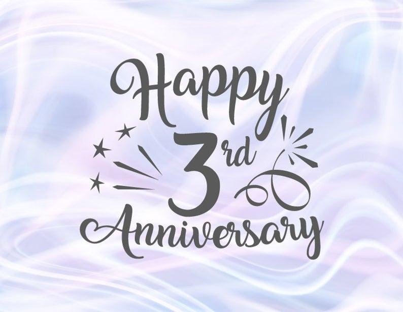 Happy 3rd Anniversary Svg Files For Cricut Leather Wedding Etsy Happy 45th Anniversary Happy 35th Anniversary Happy 30th Anniversary
