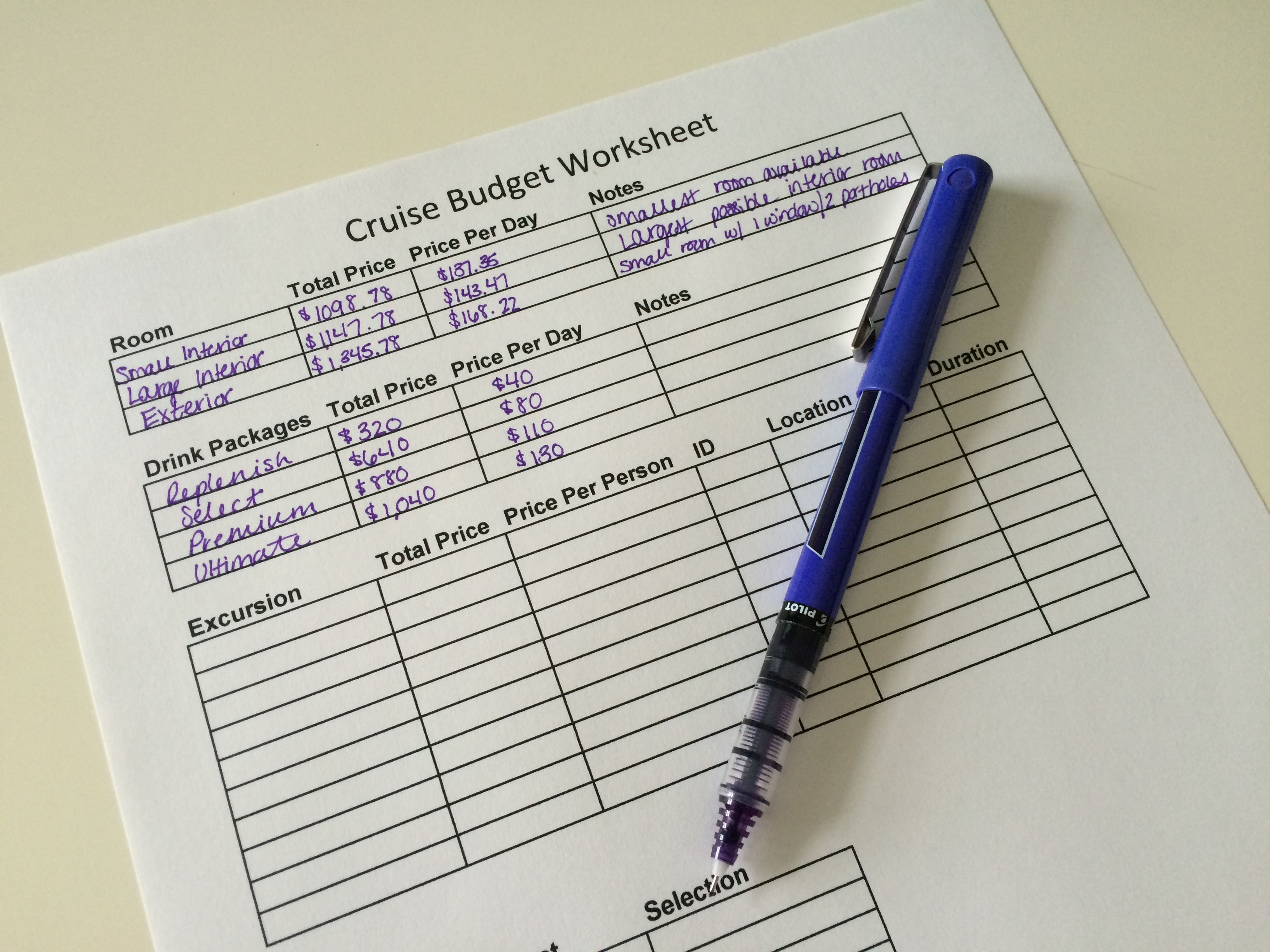 Travel Budget Worksheets