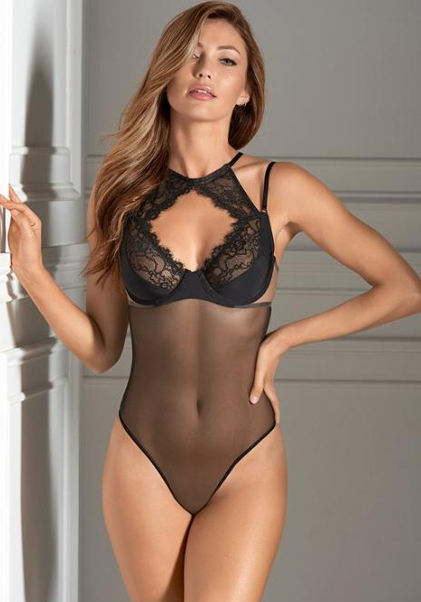 74f62ccfff05 Eyelash lace sheer bodysuit