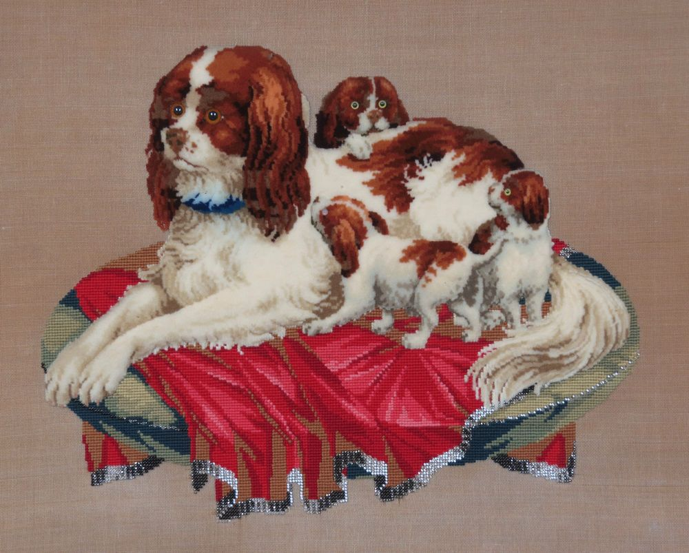 ANTIQUE BERLIN WOOL PLUSHWORK EMBROIDERY of SPANIEL DOGS - MOTHER & PUPPIES