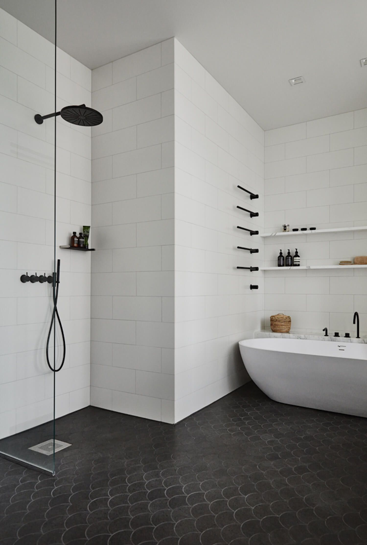 Monochrome Materials Get The Look Statement Bathrooms Bathroom - Bathroom renovation materials