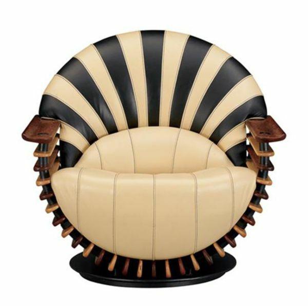 Art Deco Rückenlehne Sessel Leder Beige
