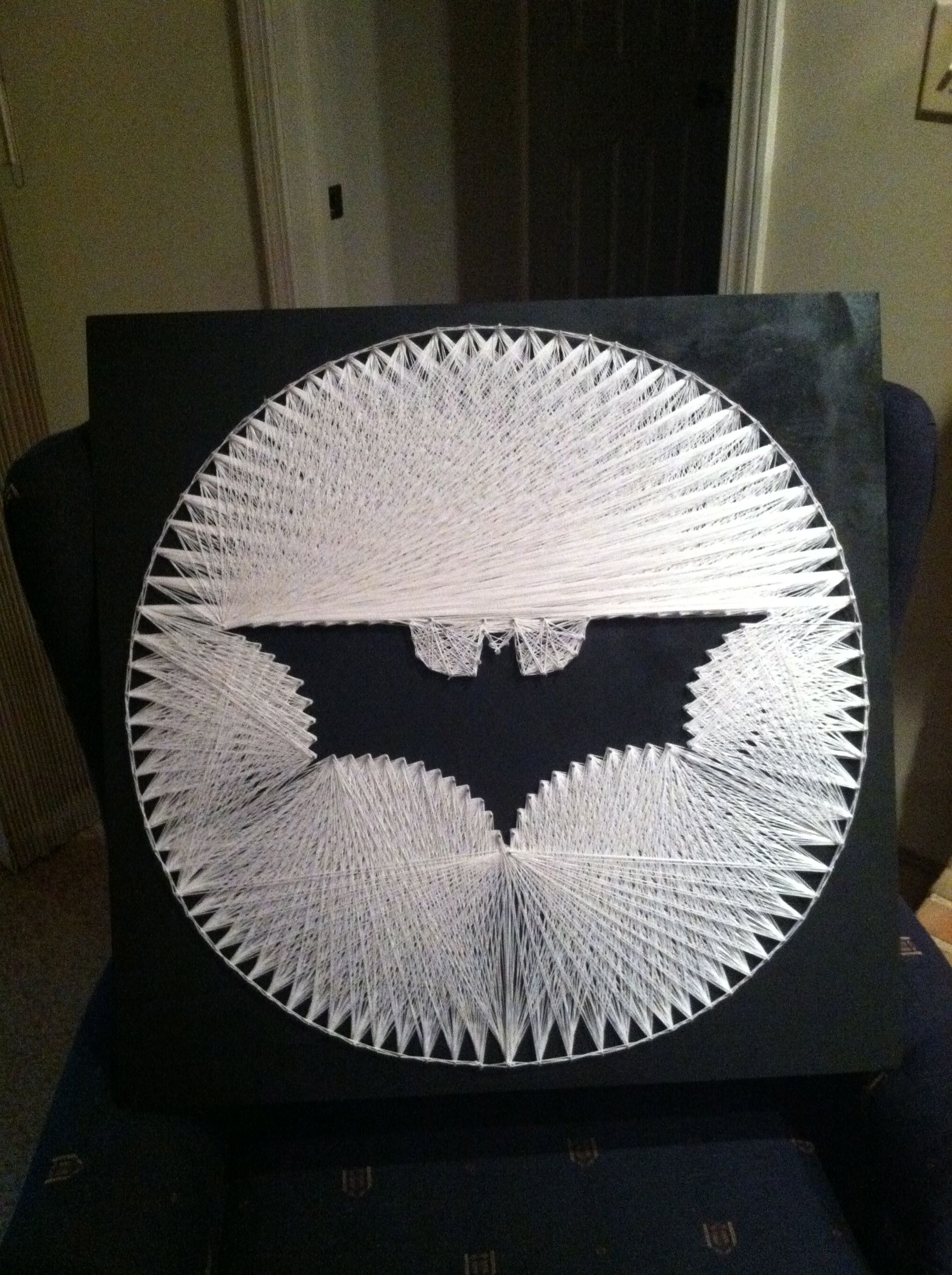 How To Do String Art Batman Symbol String Art Crafts Pinterest String Art