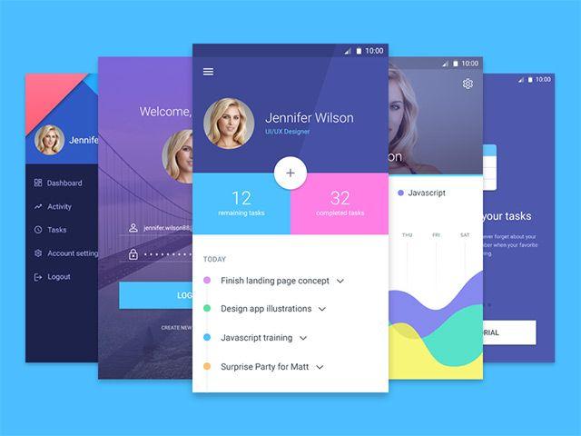 Material Design App Template Freebiesbug App Design Material Design Google Material Design