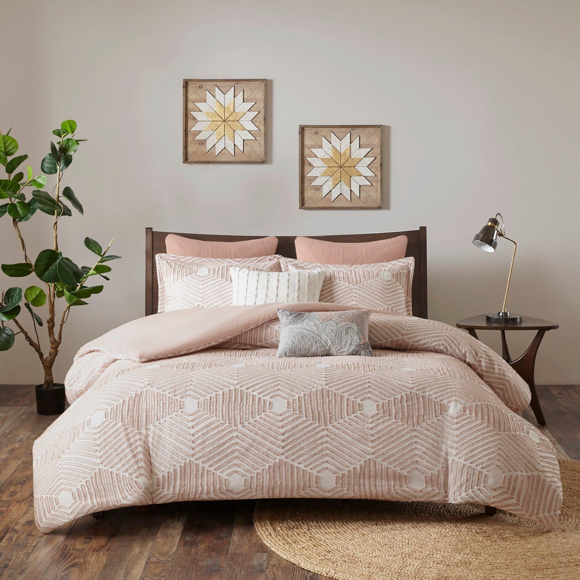 Ink Ivy Ellipse Blush Cotton Jacquard Comforter Set Textured Geometric Full Queen Shabby Chic Mo Comforter Sets Duvet Cover Sets Reversible Duvet Covers