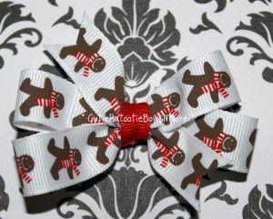 Gingerbread man print pinwheel hair bow.