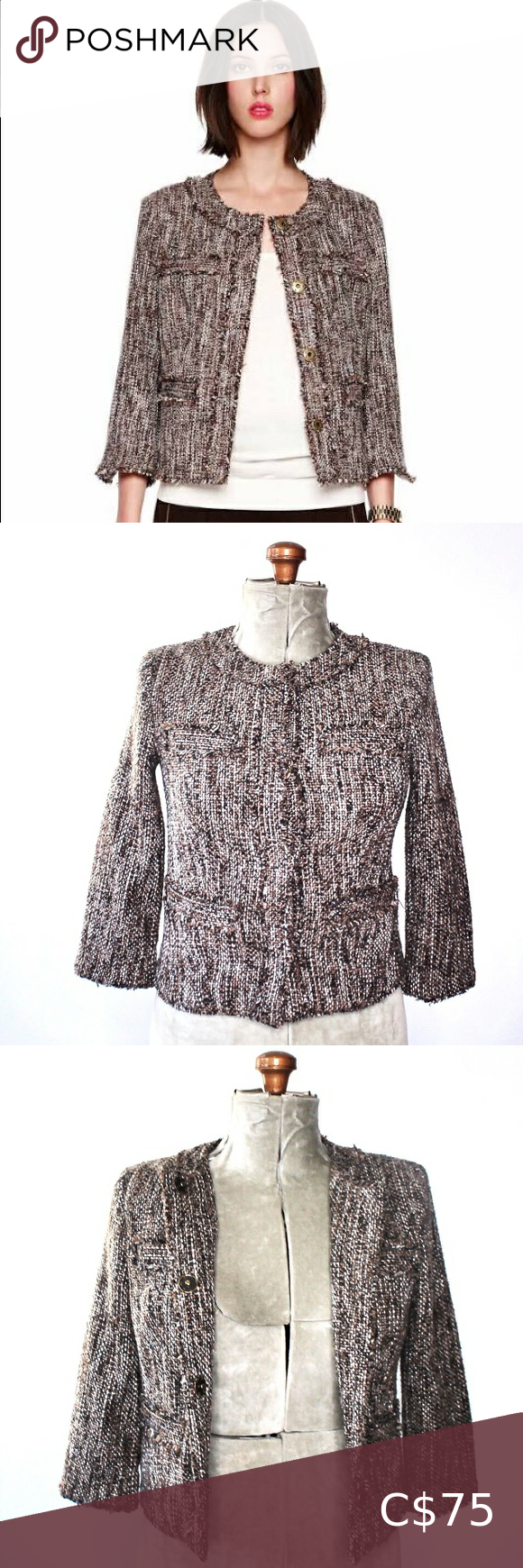 Michael Kors Dark Brown Thick Tweed Blazer Size 2