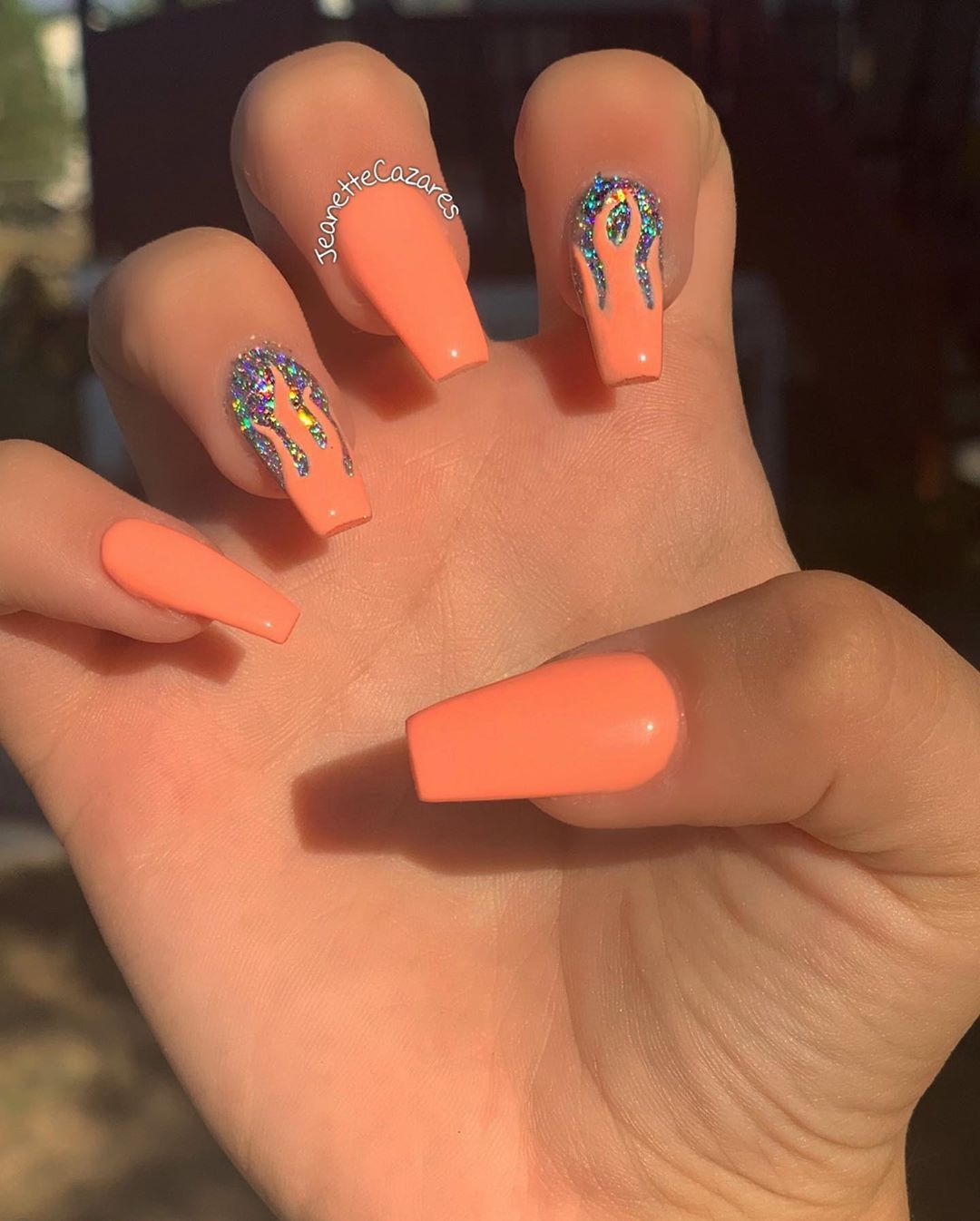 On Instagram Tracynailz Let Me See It Came Thru For These Holo Flames Drawi Short Acrylic Nails Swag Nails Best Acrylic Nails