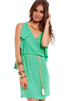 Tough Ruffles Belted Dress in Jade