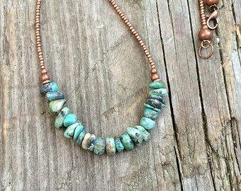 Photo of Collar turquesa, collar con cuentas turquesa, collar de joyería de cobre, joyería del sudoeste, collar de cuentas de cobre