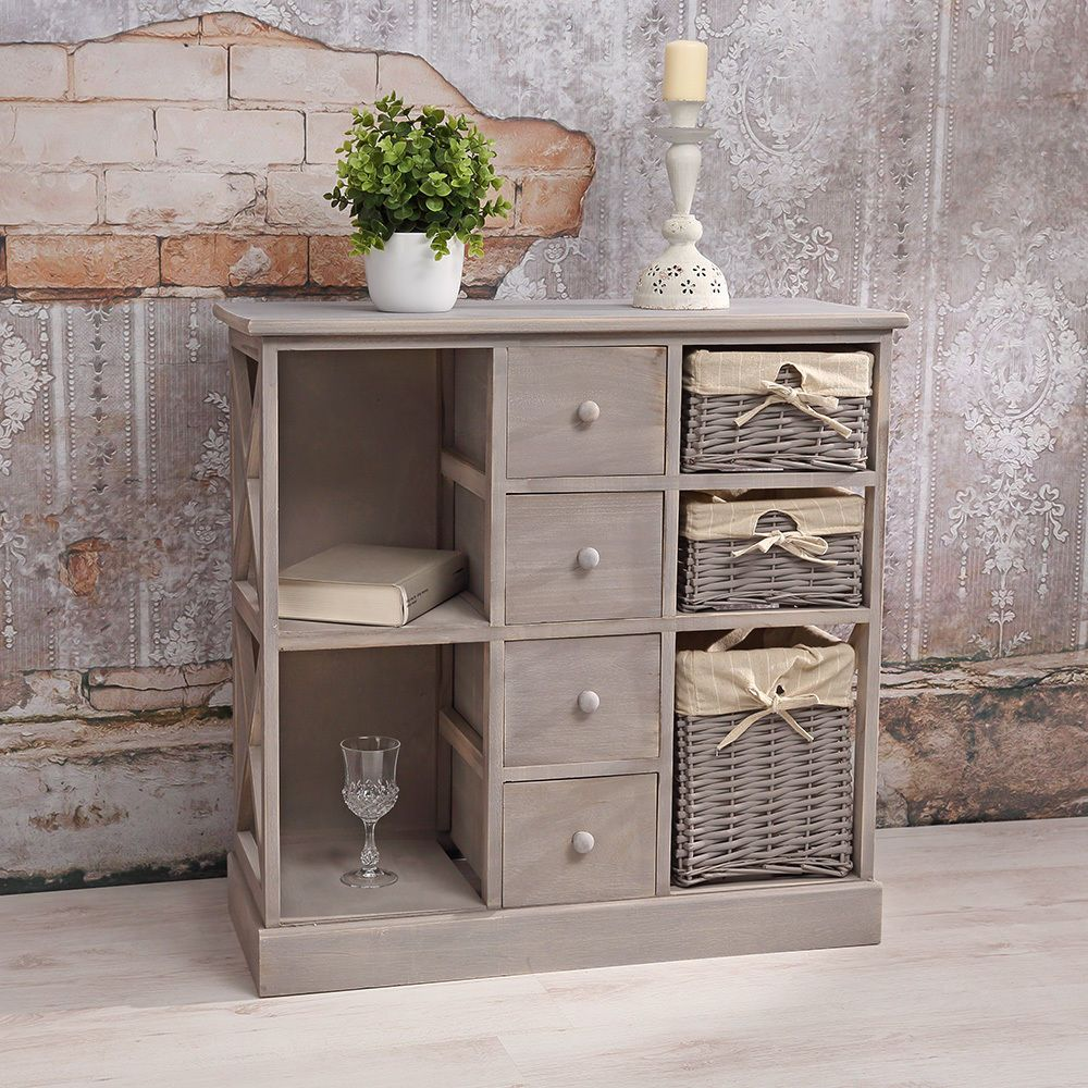 kommode schrank regal shabby chic grau mit 3 k rben regalf cher holz sideboard bathroom. Black Bedroom Furniture Sets. Home Design Ideas