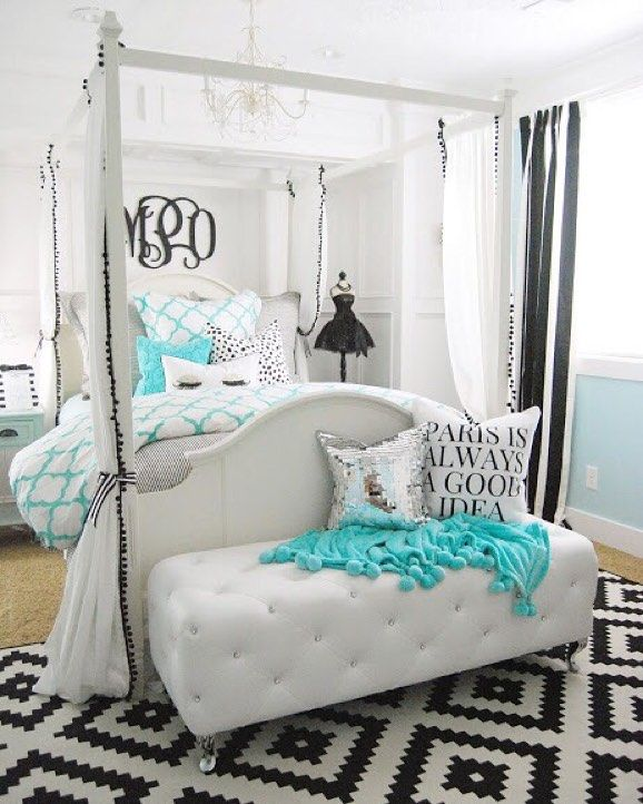 Contemporary Bedroom Lighting Bedroom Interior For Couples Black And White Tiles In Bedroom Bedroom Furniture Black: Absolutely In Love With This Tiffany Inspired Bedroom From @homebyheidi! 😍 Can You Spy 🔎 The