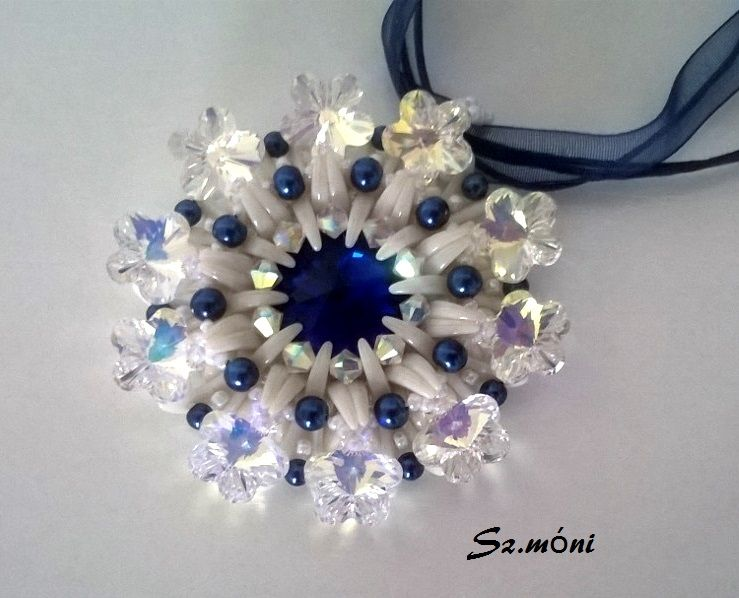 Pendant with 6744 swarovski flower pendant  by Monika Szatmari
