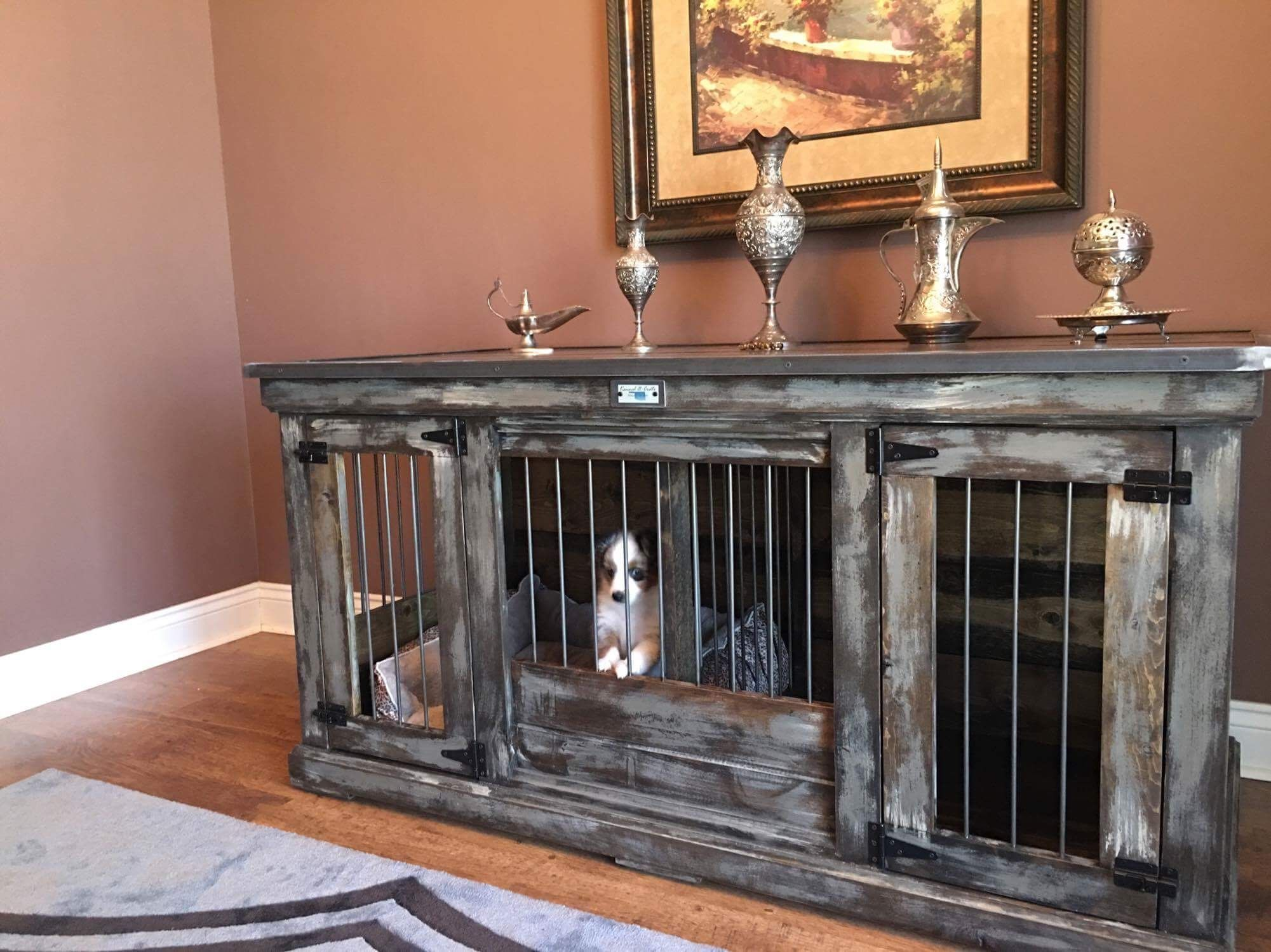 medium double dog kennel perfect as an accent piece or a