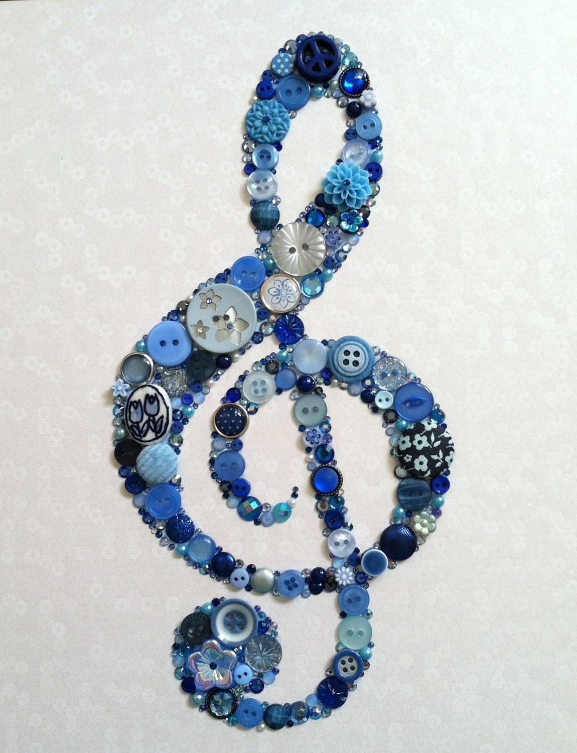 Cute for Alexa with sheet music mod podged on canvas.    Treble Clef Buttons Brads Swarovski Rhinestones Icon Custom Wall Art. $65.00, via Etsy. #trebleclef