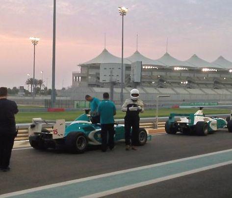 husband on the F1 track, Abu Dhabi
