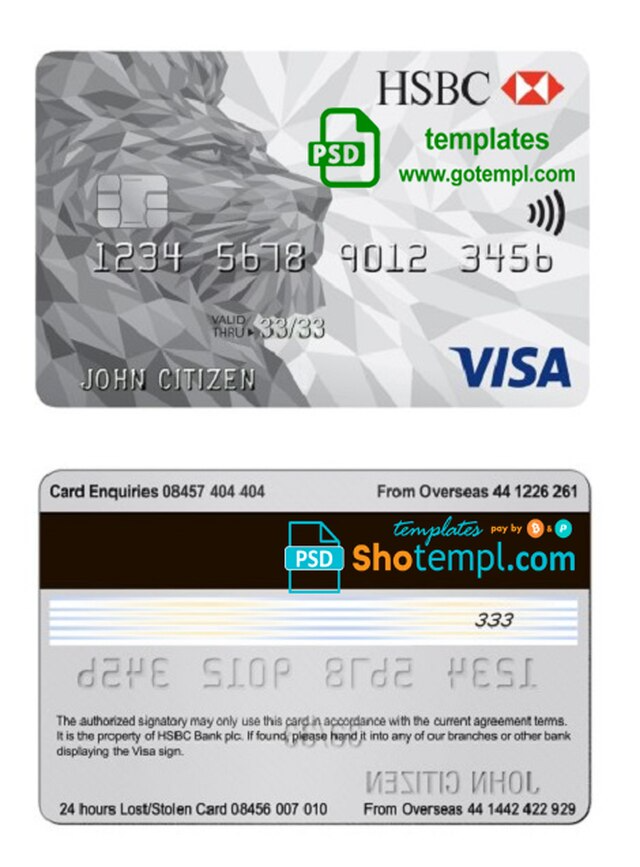 United Kingdom Hsbc Visa Classic Card Template In Psd Format Fully Editable Classic Card Card Template Templates
