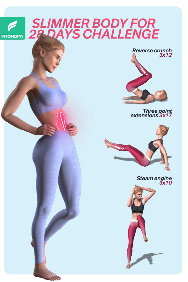 SLIMMER BODY FOR 28 DAYS CHALLENGE -   Want to lose weight, tone up and get fit?  This workout combi...