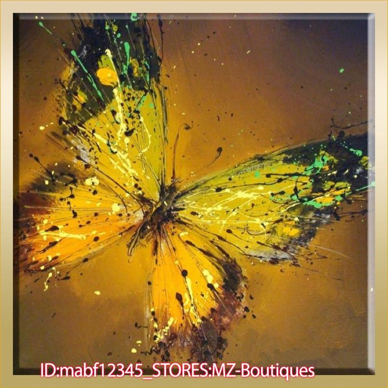 """YH883 20""""x20"""" Hand Painted Oil Canvas Art Home Decor Abstract Butterfly No Frame   eBay"""