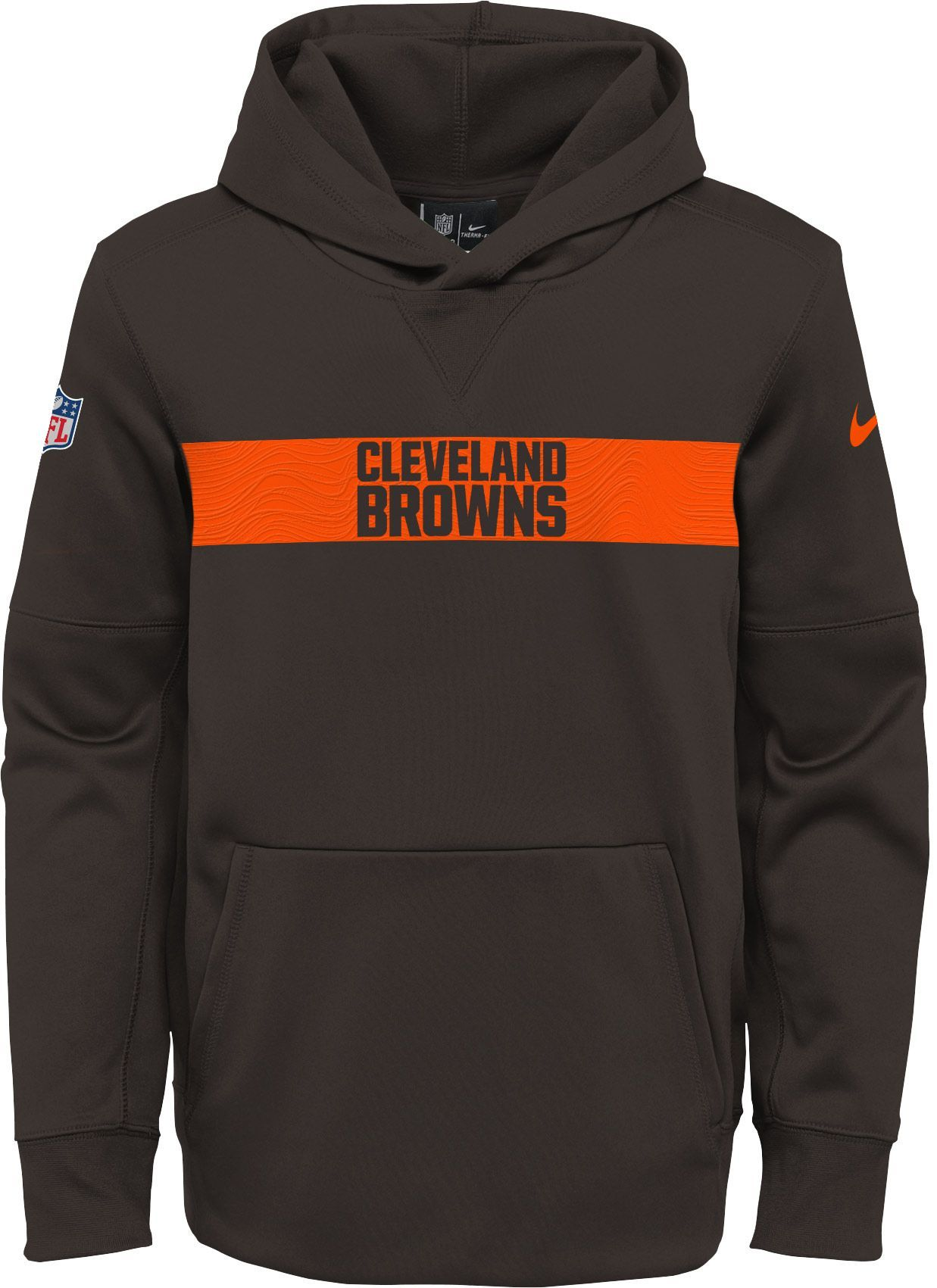 d6b6c3bb Nike Youth Cleveland Sideline Therma-FIT Brown Pullover Hoodie ...