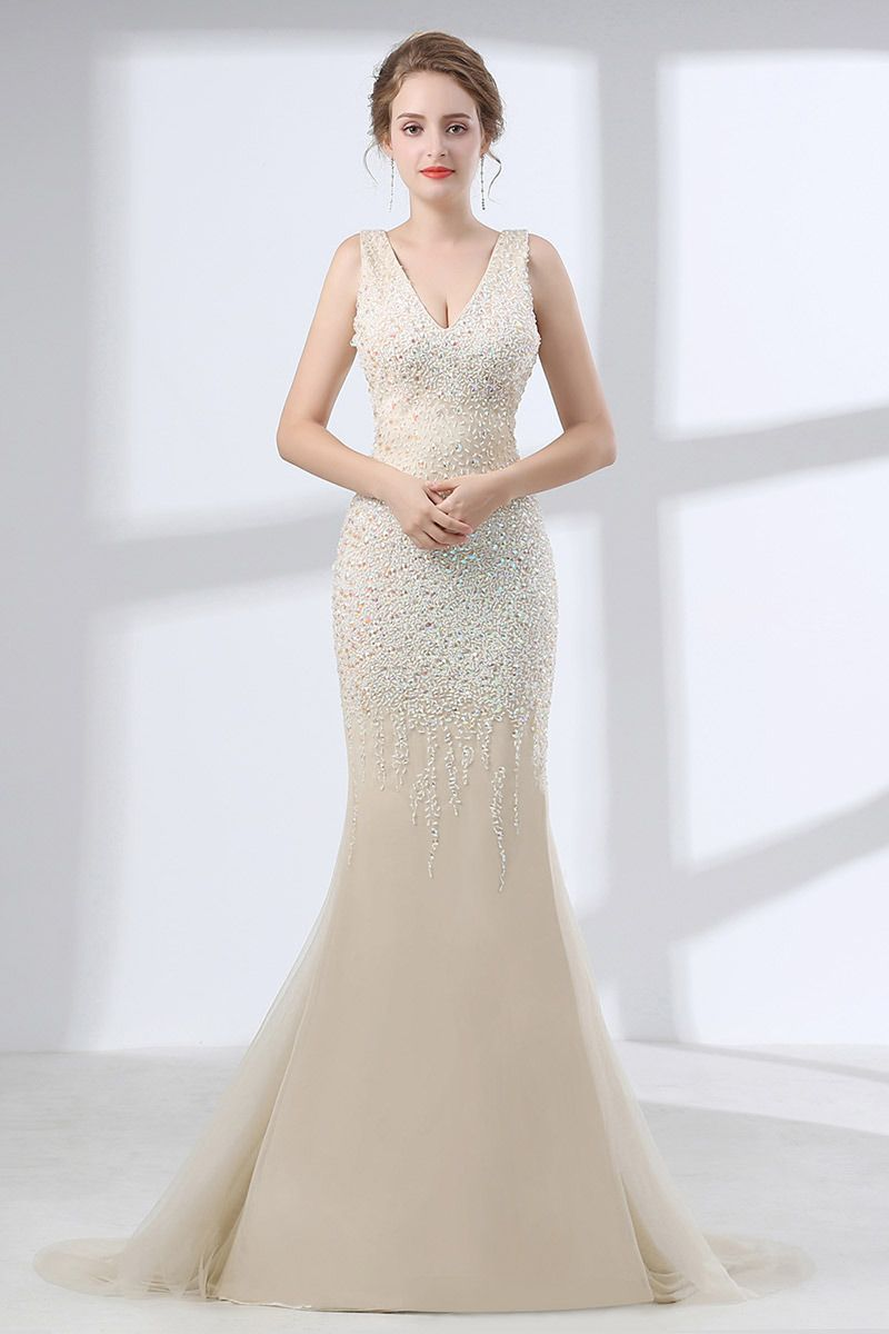 Sparkly open back champagne prom dress mermaid with sweetheart neck