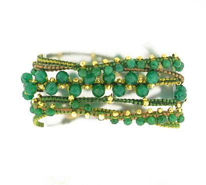 "Chan Luu Wrap Cotton Indian Av    Chan Luu Wrap Bracelet - Green and nude fabric weaved thread with gold filled beads and Indian aventurine faceted beads.   40"" long with a gold fill button toggle closure."