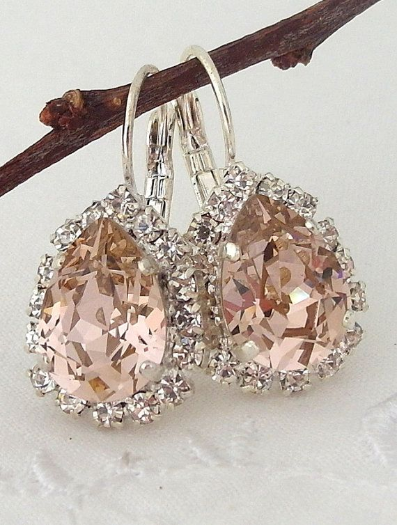 Blush Pink crystal teardrop earring Drop by EldorTinaJewelry | blush wedding |crystal earrings | blush crystal and silver | bridal earring | bridesmids gift | http://etsy.me/1WtiiG4