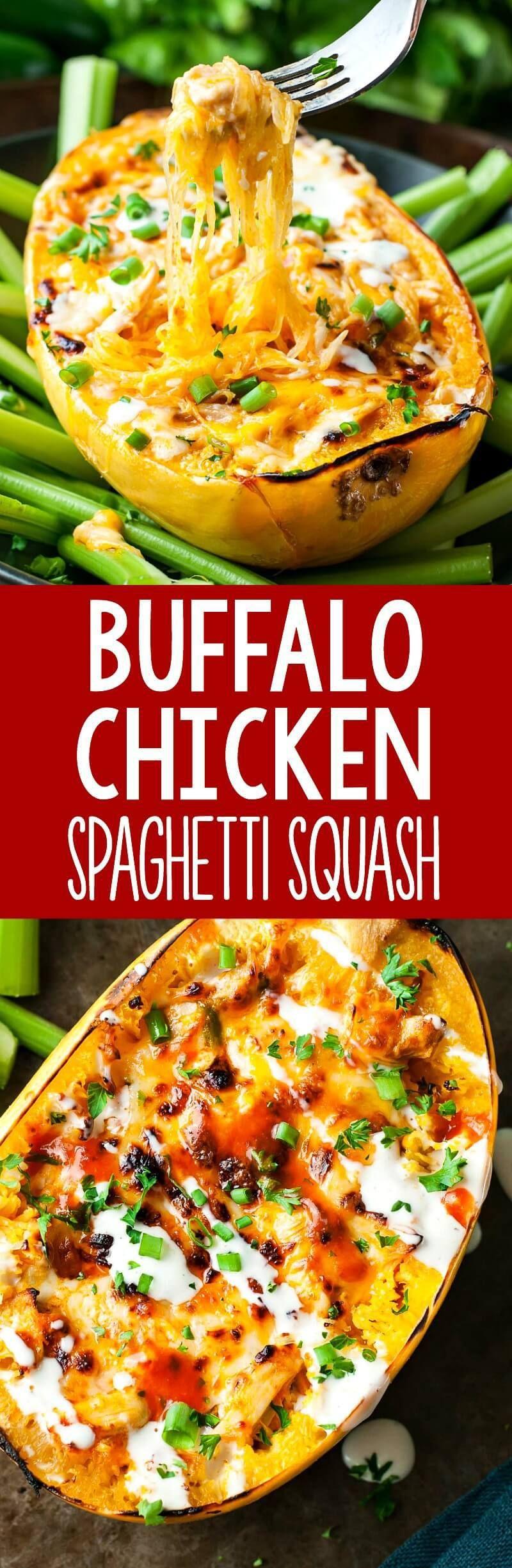 Buffalo chicken spaghetti squash bowls peas and crayons