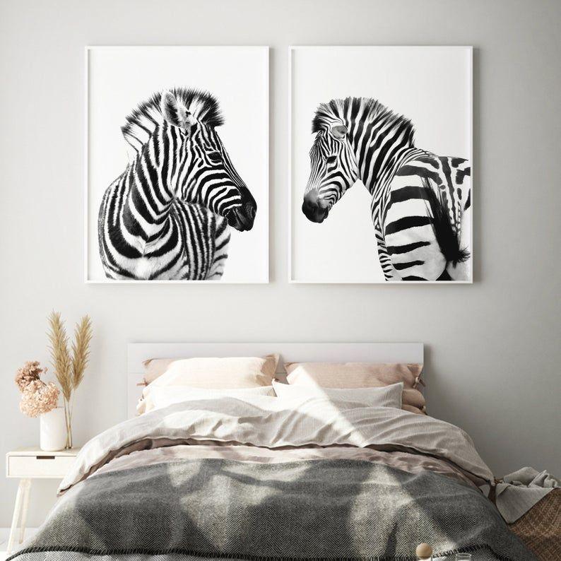 Zebra Wall Art Black And White Zebra Set Of 2 Zebra Print Etsy In 2020 Zebra Wall Art Zebra Wall Animal Wall Decor Nursery