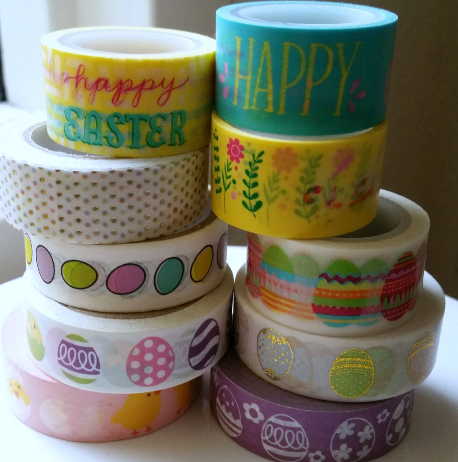 Easter washi and pastel washi tape sample easter greetings pastel easter eggs and pastels 18 inch sample of easter greetings pastel dots and eggs by washiyoudoing on etsy m4hsunfo