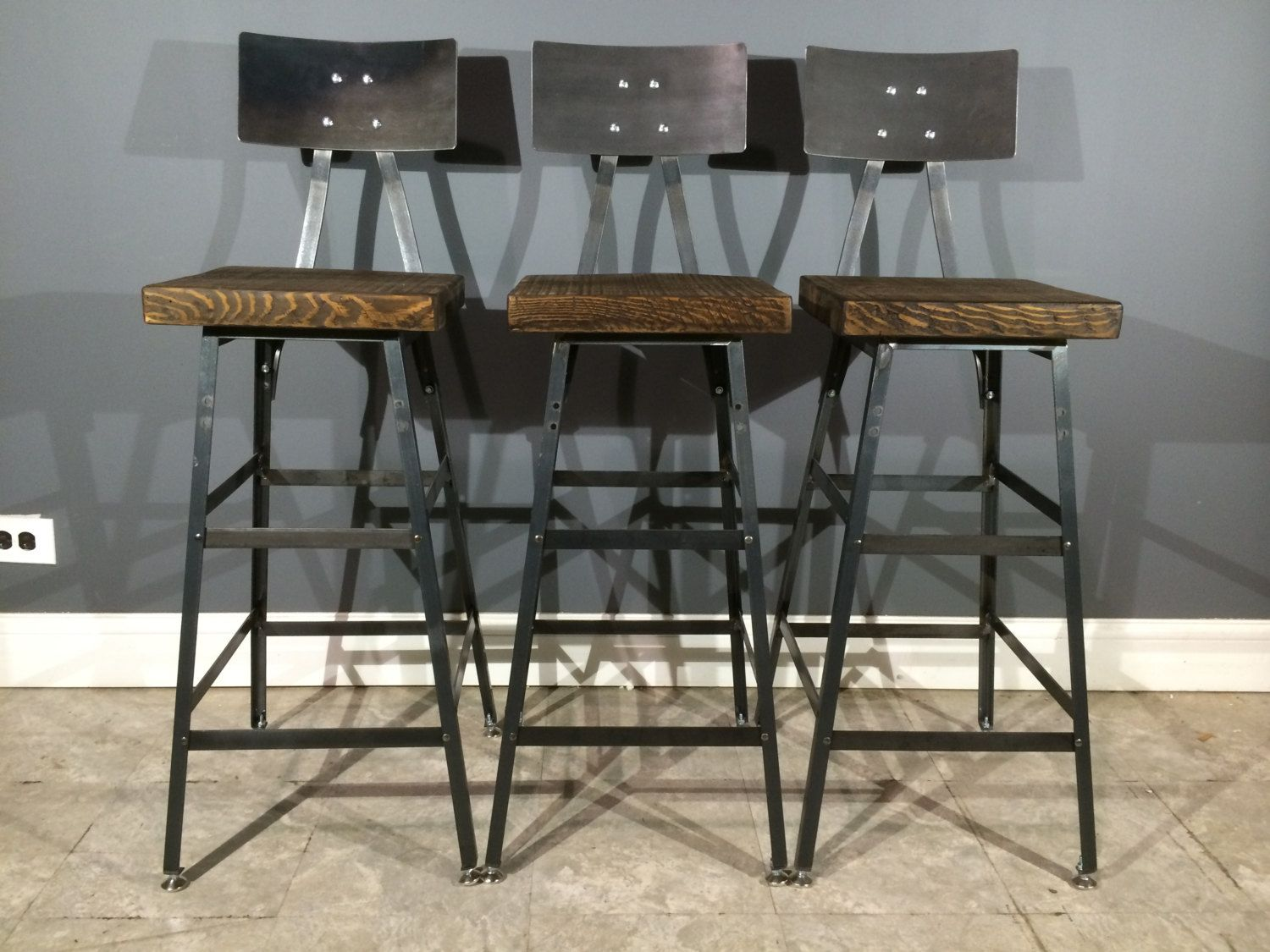 Set of 3 rustic bar stools w steel backs made from reclaimed barn