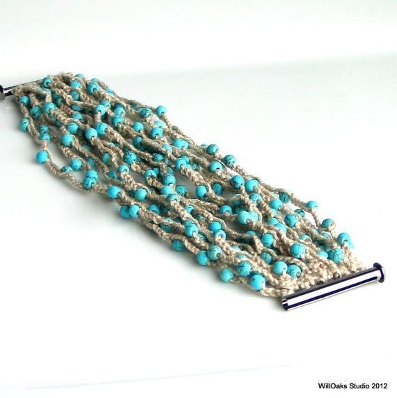 Beaded Crocheted Cuff Wide Thick Cotton Bracelet by WillOaksStudio, $47.00