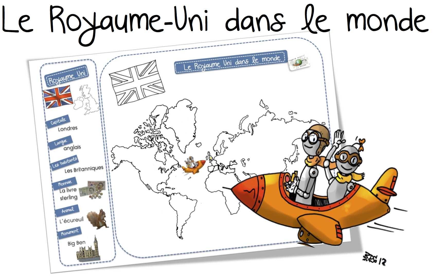 Carte Du Monde Unie.Le Royaume Uni Dans Le Monde Carte Et Recapitulatif Cp Ce1