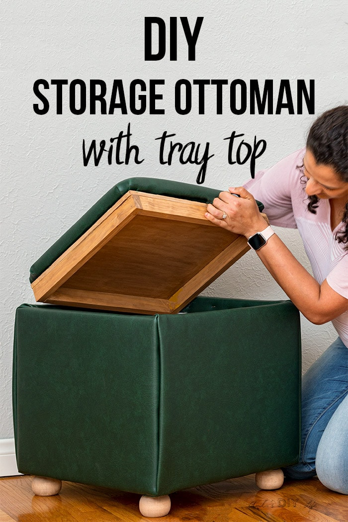 Diy Storage Ottoman Cube With Tray Top In 2020 Storage Cube