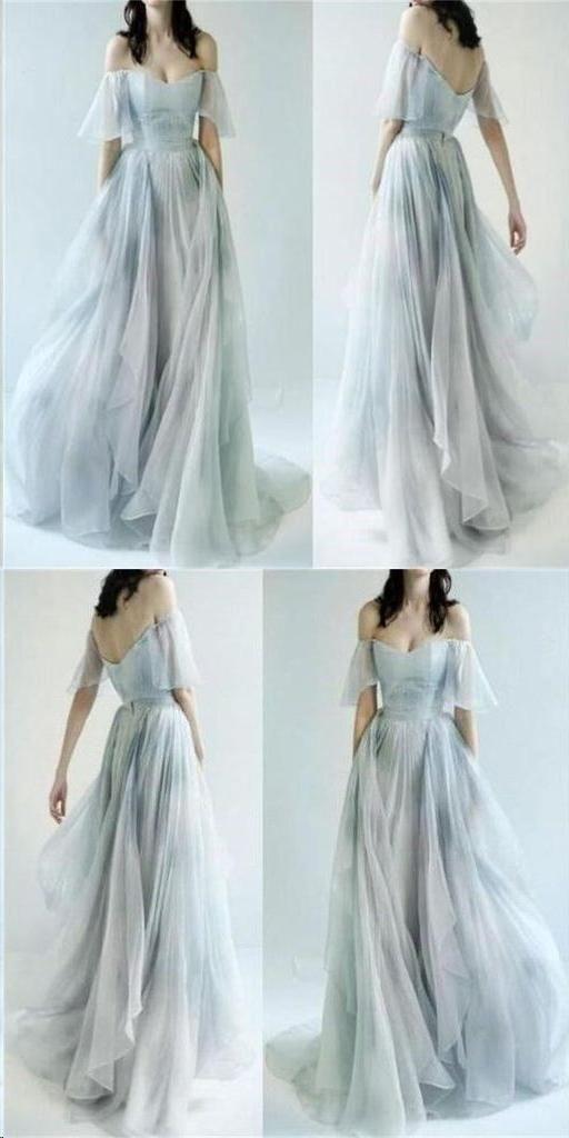Beautiful Prom Dresses Off-the-shoulder A-line Print Flowy Chiffon ...