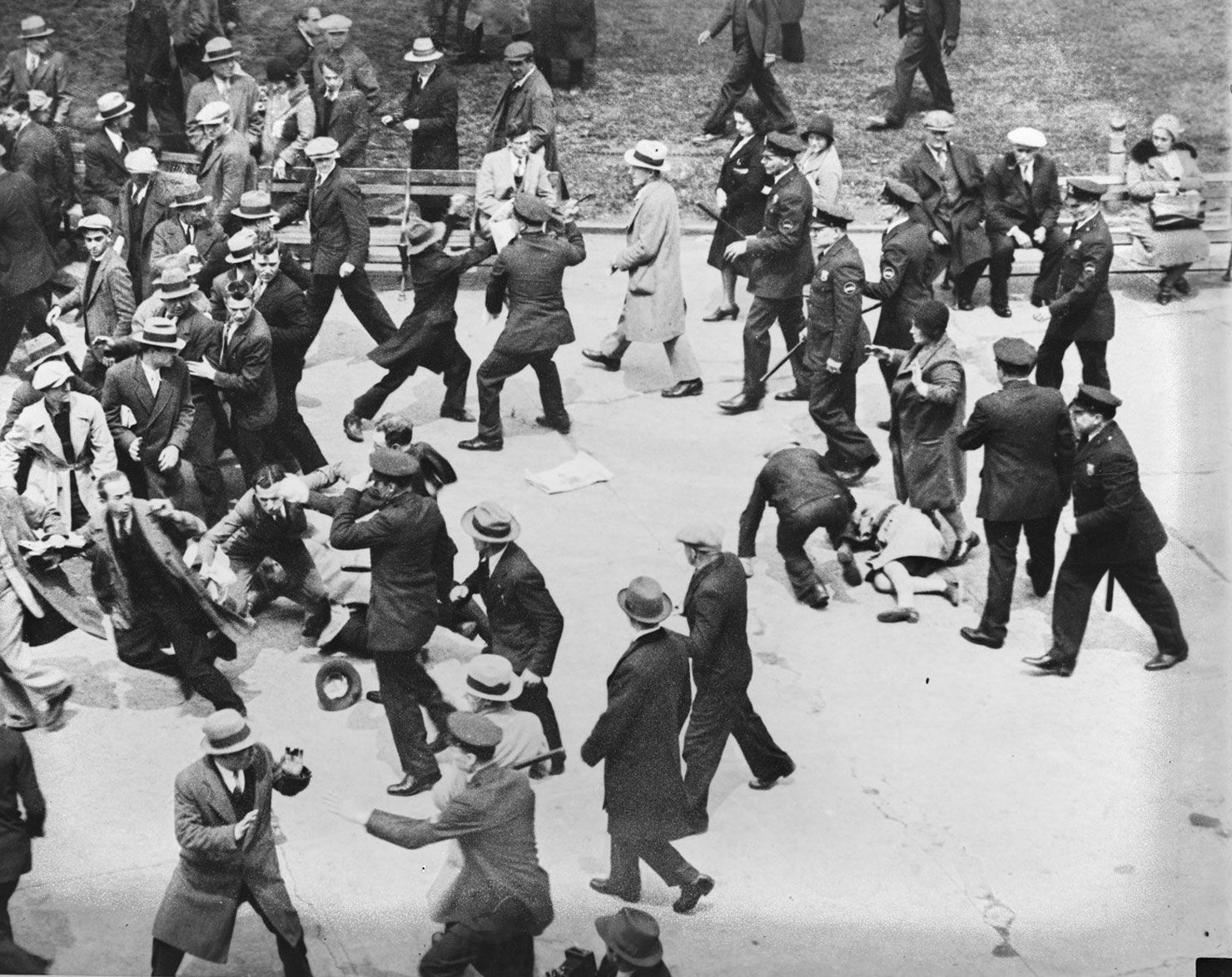 Police break up a protest against the deportation of Chinese communist Tao Chung-Li, 1931