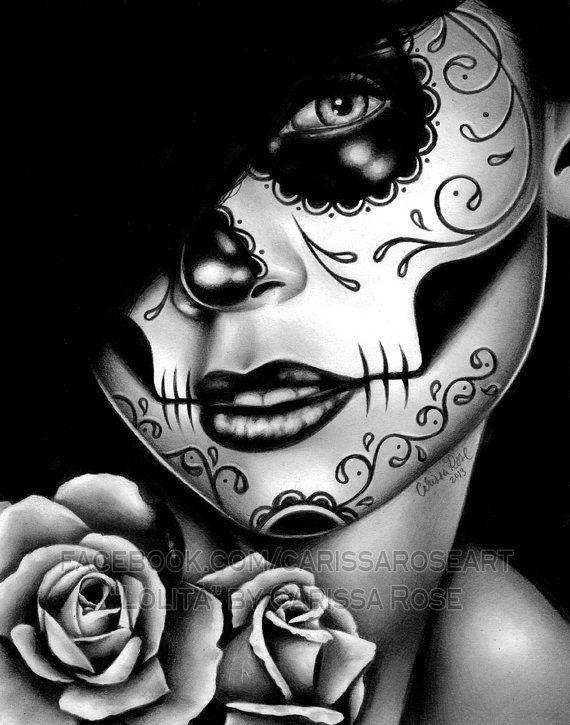 47450e16 Dia De Los Muertos Sugar Skull Girl Portrait Lolita By Carissa Rose Art  Print 5x7, 8x10, or 11x14 in